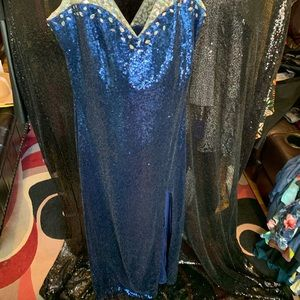 Royal Blue Sequin Ball Gown